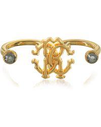 Roberto Cavalli Goldtone Metal Two Fingers Ring - Mettallic