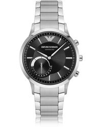 Emporio Armani - Connected Satin Stainless Steel Hybrid Men's Smartwatch - Lyst