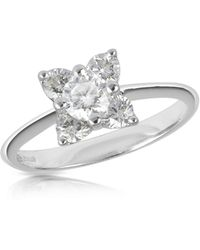 FORZIERI Diamond Flower 18k White Gold Ring - Metallic