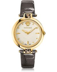 Versace Crystal Gleam Grey Women's Watch w/White Guilloché Dial and Croco Embossed Band - Grau