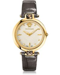 Versace - Crystal Gleam Grey Women's Watch W/white Guilloché Dial And Croco Embossed Band - Lyst
