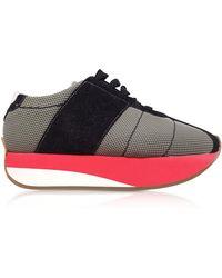 Marni - Sneakers Big Foot en Tissu Perforé Gris et Suède Noir - Lyst