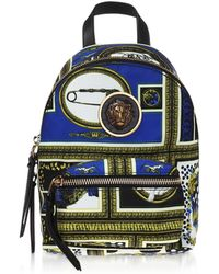 Versus - Heritage Border Printed Canvas And Leather Mini Lion Backpack - Lyst