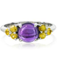 Mia & Beverly - Amethyst And Sapphires 18k White Gold Ring - Lyst
