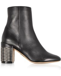 Rodo - Black Leather Booties W/silver Woven Leather Heel - Lyst