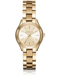 Michael Kors Mini Slim Runway Gold Tone Women's Watch - Mettallic