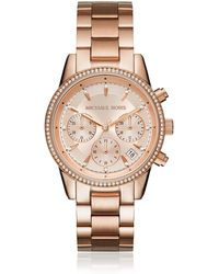 Michael Kors Ritz Rose Gold Tone Women's Watch - Metallic