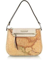 Alviero Martini 1A Classe - Australia Geo Printed Hobo Bag W/cream Ostrich Print Leather Details - Lyst