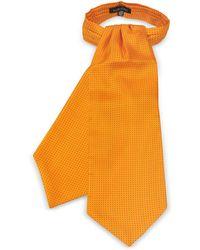 FORZIERI Micro Dots Print Silk Tie Ascot - Orange