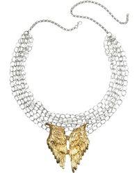 Bernard Delettrez Halskette aus Silber mit Flügeln aus Bronze - Mettallic