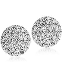 Rebecca - R-zero Rhodium Over Bronze Round Earrings - Lyst