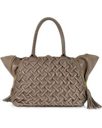 FORZIERI - Taupe Pleated Leather Tote - Lyst