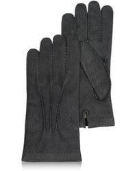FORZIERI - Men's Cashmere Lined Black Italian Calf Leather Gloves - Lyst