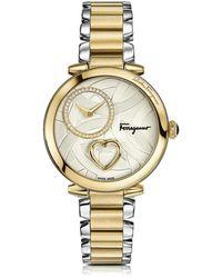 Ferragamo Cuore Ferragamo Damenuhr aus Edelstahl und Gold IP Diamanten und Herzschlag - Mettallic