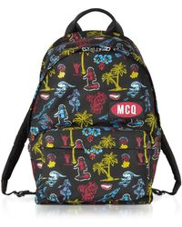 McQ - Darkest Black Printed Nylon Classic Backpack - Lyst