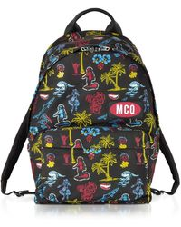 McQ Darkest Black Printed Nylon Classic Backpack