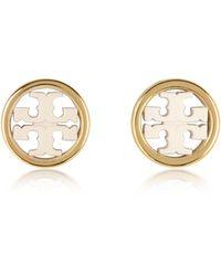 Tory Burch Miller Circle-stud Earrings - Metallic