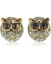 Alcozer & J Owl Earrings W/crystals - Metallic
