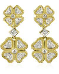 Torrini Quadrifoglio Diamond Four-leaf Clover 18k Gold Earrings - Metallic