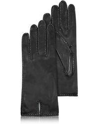 Forzieri | Women's Stitched Silk Lined Black Italian Leather Gloves | Lyst