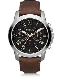Fossil Grant Reloj Cronógrafo para Hombre de Acero Inoxidable y Correa de Cuero - Negro