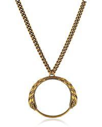 Roberto Cavalli - Antique Goldtone Metal Snake Pendant Necklace - Lyst