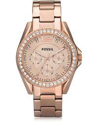 Fossil Riley Damenuhr aus Edelstahl - Pink