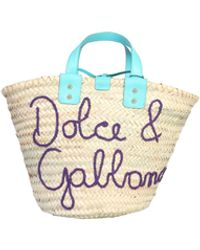 Dolce & Gabbana Kendra Embroidered Straw Tote Bag - Natural