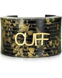 MM6 by Maison Martin Margiela | Black & Gold Resin Cuff | Lyst
