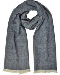 Marina D'este - Zigzag Stripe Cashmere Silk And Wool Long Scarf W/fringes - Lyst