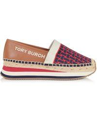 Tory Burch Mid Tan Daisy Slip-on Sneaker Espadrillas - Purple