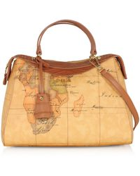 Alviero Martini 1A Classe - Charme Geo Coated Canvas & Leather Satchel Bag - Lyst