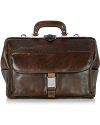 Chiarugi - Large Brown Hammered Leather Doctor Bag - Lyst