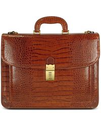L.A.P.A. Men's Front Pocket Croco Stamped Italian Leather Briefcase - Brown