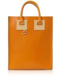 Sophie Hulme - Mini Albion Toffee Shiny Saddle Leather Tote Bag - Lyst