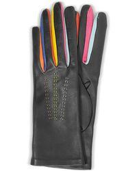 FORZIERI Arlecchino Black Leather Women's Gloves W/silk Lining
