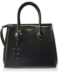 Balmain | 3d Black Glossy Leather Top Handle Bag | Lyst