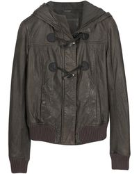 FORZIERI - Brown Hooded Leather Jacket - Lyst