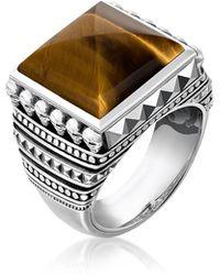 Thomas Sabo Blackened 925 Sterling Silver Skulls Brown Tiger Eye Ring - Mettallic