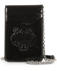 KENZO Phone on a Chain Crossbody in Vernice Nera con Logo Tiger - Nero