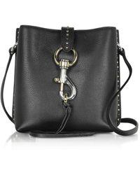 Rebecca Minkoff Megan Mini Black Leather Feed Bag with Studs - Schwarz