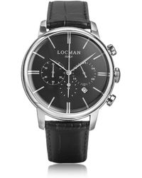 LOCMAN - 1960 Silver Stainless Steel Men's Chronograph Watch W/black Croco Embossed Leather Strap - Lyst