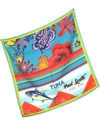 Paul Smith Blue Hawaiian Floral and Ocean Print Men's Square Scarf - Blau