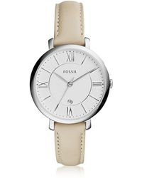 Fossil Jacqueline Stainless Steel Women's Watch w/Leather Band - Mettallic