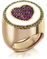 Azhar Rose Gold Plated Sterling Silver Adjustable Ring W/red Cubic Zirconia - Multicolor