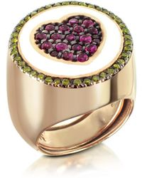 Azhar - Rose Gold Plated Sterling Silver Adjustable Ring W/red Cubic Zirconia - Lyst
