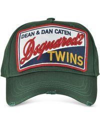 DSquared² - Cargo Patch Logo Green Gabardine Baseball Cap - Lyst