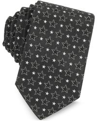 Givenchy | Black And White Multi Stars Printed Silk Narrow Tie | Lyst