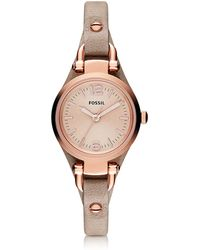 Fossil - Georgia Mini Three Hand Sand Leather Women's Watch - Lyst