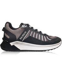 Balmain Black & Gray Low Top Men's B-Trail Sneakers - Negro
